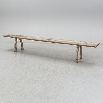 A pine bench, 19th Century.