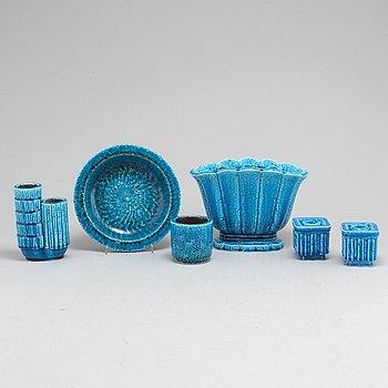 GUNNAR NYLUND, 6 stoneware items from Rörstrand, mid 20th century.