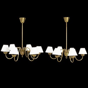 A pair of 1940s ceiling lights, Swedish Modern.