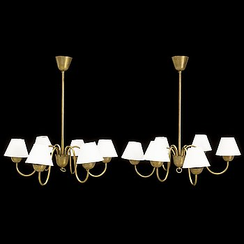 A pair of 1940's brass ceiling lights,