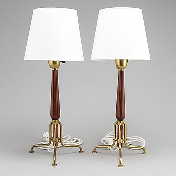 A pair of mid 20th cehtury table lights, attributed to Bertil Brisborg.