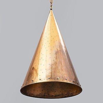 A 1970s copper ceiling light, Denmark.
