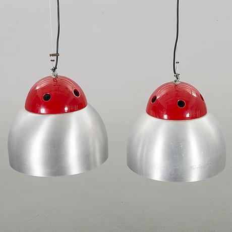 A pair of italian luce 350 pendants, latter part of 20th century