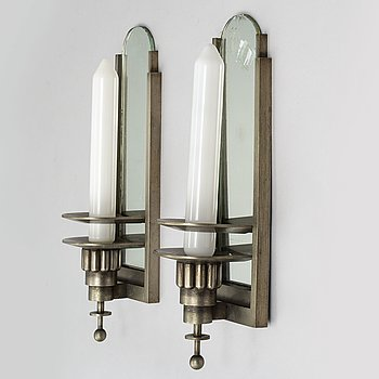WALL LIGHTS, a pair of 1930's white metal and mirror glass.