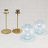 Hans agne jakobsson, a pair of brass and glass candle holders, markaryd