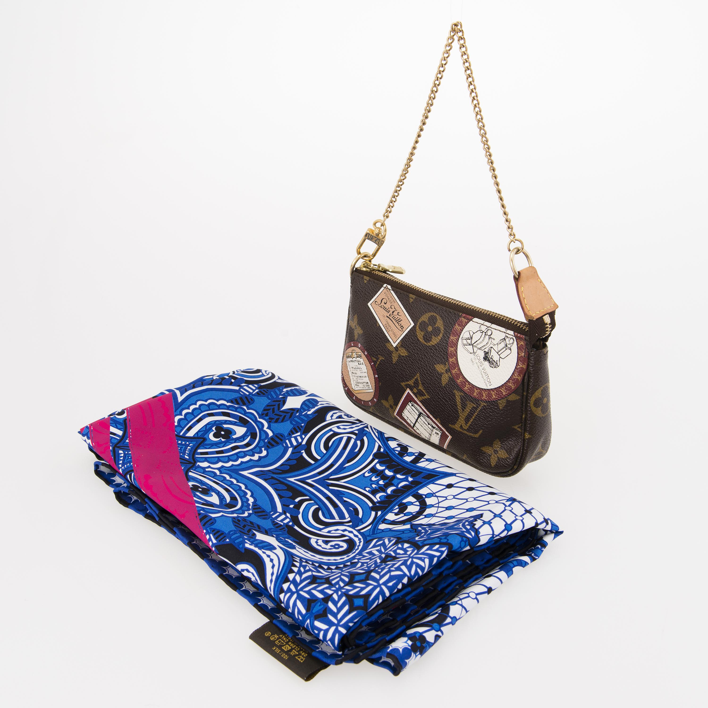 315698cd8c7 LOUIS VUITTON Silk Scarf with Monogram Patch Mini Pochette Bag ...