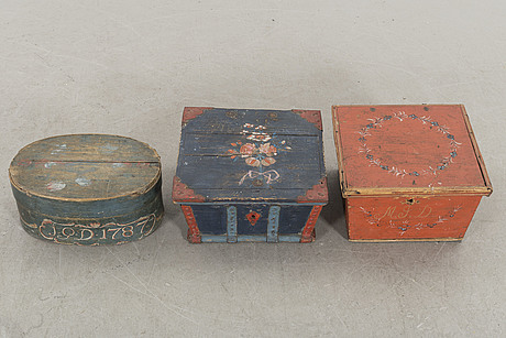 A set of three swedish painted boxes 18/19th century.
