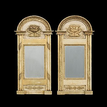 A Swedish late Empire gilded mirror.