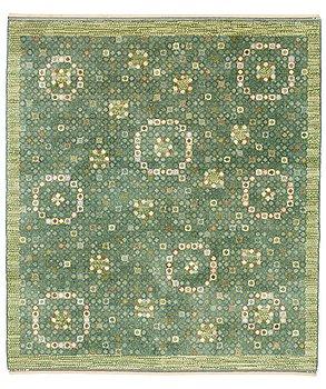 "189. Barbro Nilsson, A CARPET, ""Bankrabatten grön"", knotted pile, ca 246 x 211,5 cm, signed AB MMF BN."