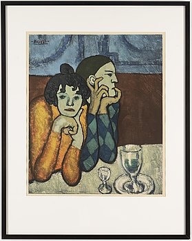 PABLO PICASSO, after, collotype in colors, with Guy Spitzer's blind stamp in upper left corner.