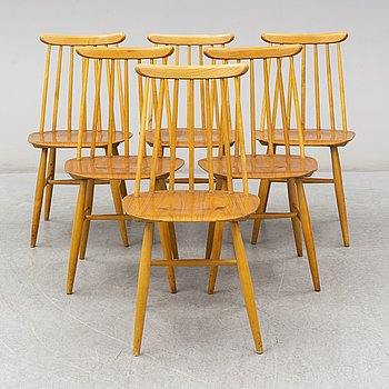 Six 'Fanett' chairs by Ilmari Tapiovaara, Edsbyverken, Sweden.