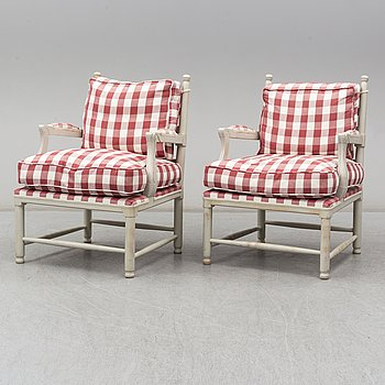 A second part of the 20th century pair of Gustavian style armchairs.