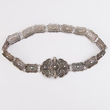 BELT, silver, probably Russia, around 1900.
