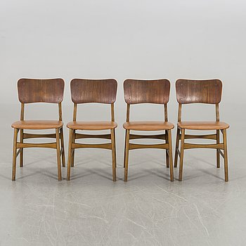 Four Ib Kofoed Larsen chairs, Denmark 1950's-60's.