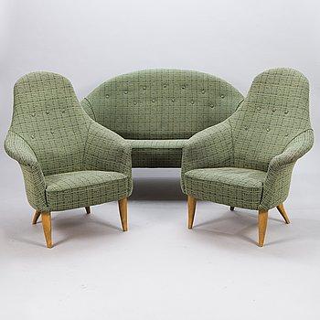 KERSTIN HÖRLIN-HOLMQUIST, a 3-piece, mid-20th Century 'Lilla Eva' sofa suite for Nordiska Kompaniet.