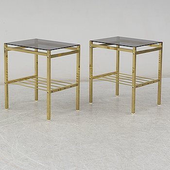 a pair of 1970's-80's bedside tables.