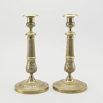 A PAIR OF EMPIRE CANDLESTICKS, FRANCE EARLY 19TH CENTURY.