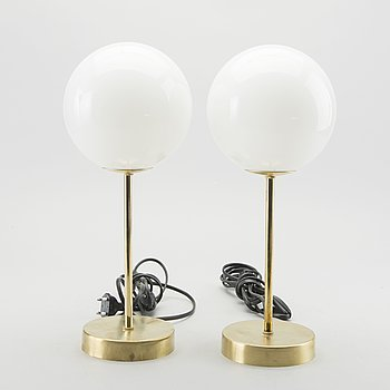 A pair of modern table lamps.