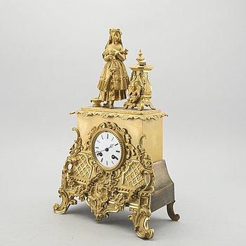 A Rococo style mantel clock, 19th century latter part.