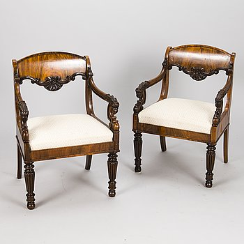 A PAIR OF ARMCHAIRS, Russia/Baltic middle of the 19th century.