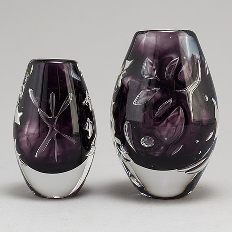 Two glass vases, viterum, second half of the 20th century.