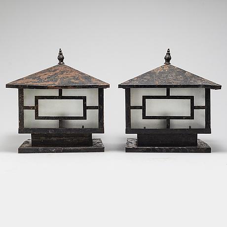 A pair of 20th century garden lights