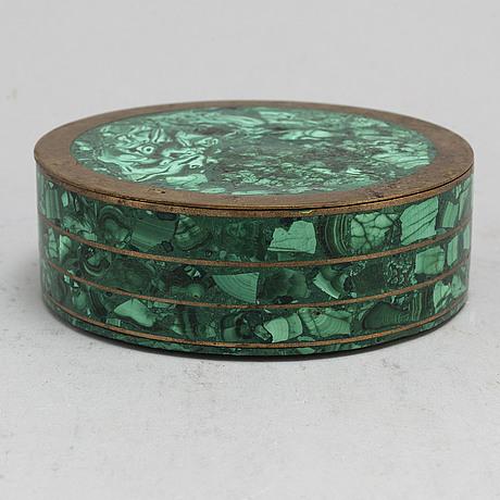 An early 20th century malachite and brass box