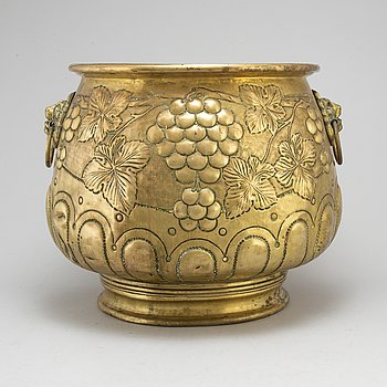 A 19th century large brass flower pot.