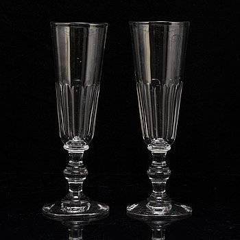 a set of ten 19th century  champagne glasses.