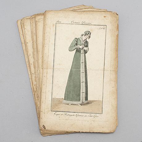 Modeplanscher, 22 st, kolorerade, 1808 & 1809