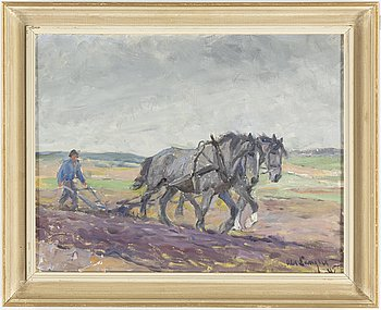 ALEXANDER LANGLET, oil on canvas, signed and dated 45.
