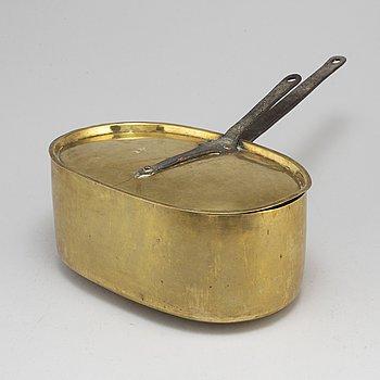 FISKKITTEL MED LOCK, mässing och smide, 1700-tal.