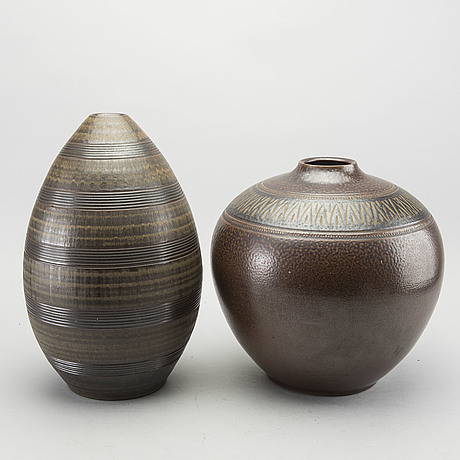 Arthur andersson, a set of two stoneware vases