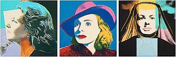 "370. Andy Warhol, ""Three portraits of Ingrid Bergman by Andy Warhol""."