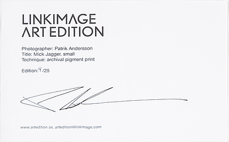 Patrik andersson, photograph signed and numbered 4725 on verso.