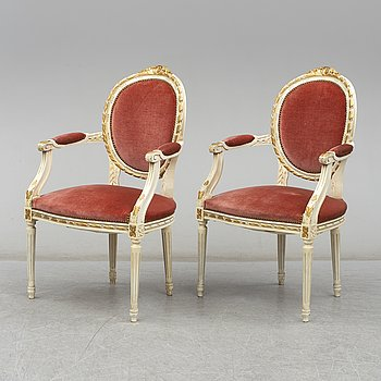 A pair of mid 20th century Gustavian style armchairs.