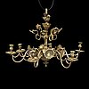 A baroque and baroque-style six-light chandelier.