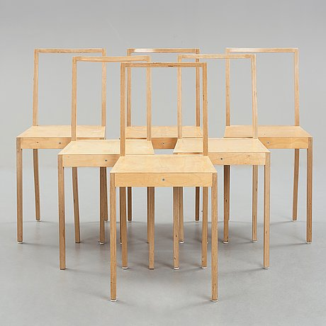 "Jasper morrison, a dining table and six birch laminate ""ply chairs / open back"" by jasper morrison, vitra, 1988-89."