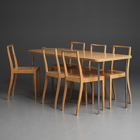 """Jasper morrison, a dining table and six birch laminate """"ply chairs / open back"""" by jasper morrison, vitra, 1988-89."""