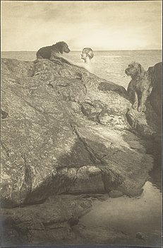 HENRY B. GOODWIN, gelatin silver print depicting the artist's dogs at the beach.