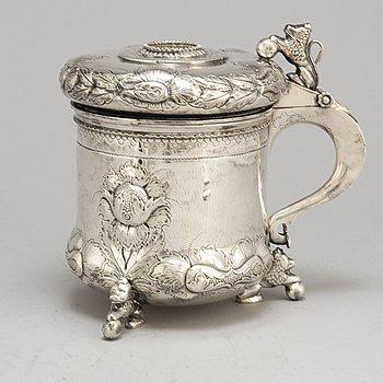 A silver Baroque style tankard from Tesi, Gothenburg, 1950.