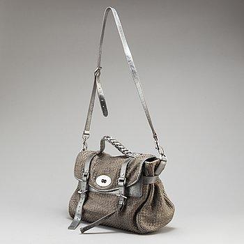 MULBERRY, väska, Metallic Cotton Weave Alexa.