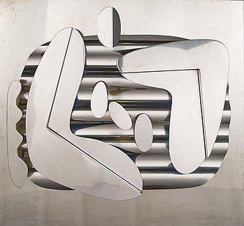 KARI HUHTAMO, relief, steel, monogram signed.