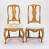 A pair of rococo chairs, late 18th century.