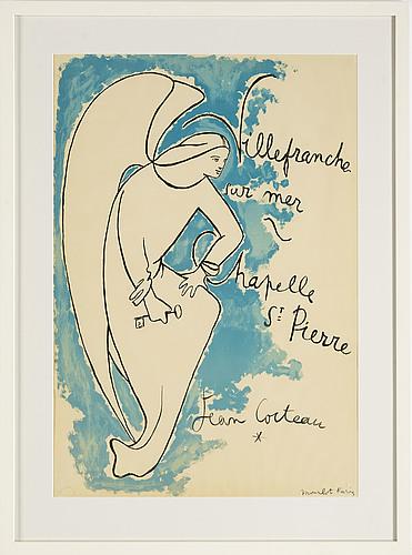 Jean cocteau, lithograph in colours, 1957, printed by mourlot paris