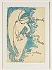 Jean cocteau, lithograph in colours, 1957, printed by mourlot paris.