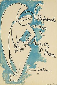 JEAN COCTEAU, färglitografisk affisch, 1957, tryckt av Mourlot, Paris.