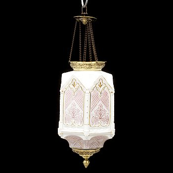 A one-light glass chandelier, late 19th Century.