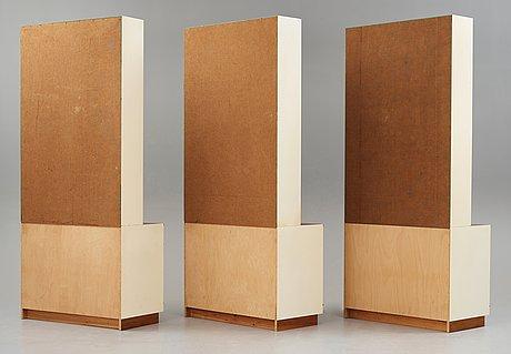 """Josef frank, a set of three """"model 2255"""" bookshelves, svenskt tenn, sweden, mid 1900's, provenance estrid ericson."""