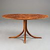 Josef frank, a walnut and burrwood dinner table, svenskt tenn, model 1020, 1940-50's, provenance estrid ericson.
